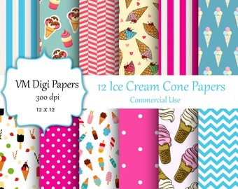 Ice Cream Digital Paper, Ice Cream Paper, Digital Paper, Ice Cream stripes , Ice Cream Digital Paper matching pattern, Commercial use