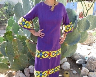 ON SALE Vintage 1960s Mexican Hand Embroidered Cotton Dress with Bell Sleeves and Flower Petal Cuffs