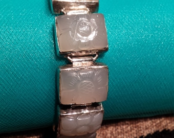 Sterling silver carved jade bracelet