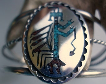 Native American Figural Turquoise Sterling Bracelet