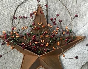 Americana Barn Star With Pip Berries, Wall Pocket Star With Pip Berries, Americana  Decor