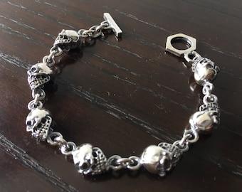 Mens .925 Sterling Chunky Skulls Bracelet Handmade.