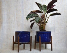 Big Blue Plant Pot With Stand