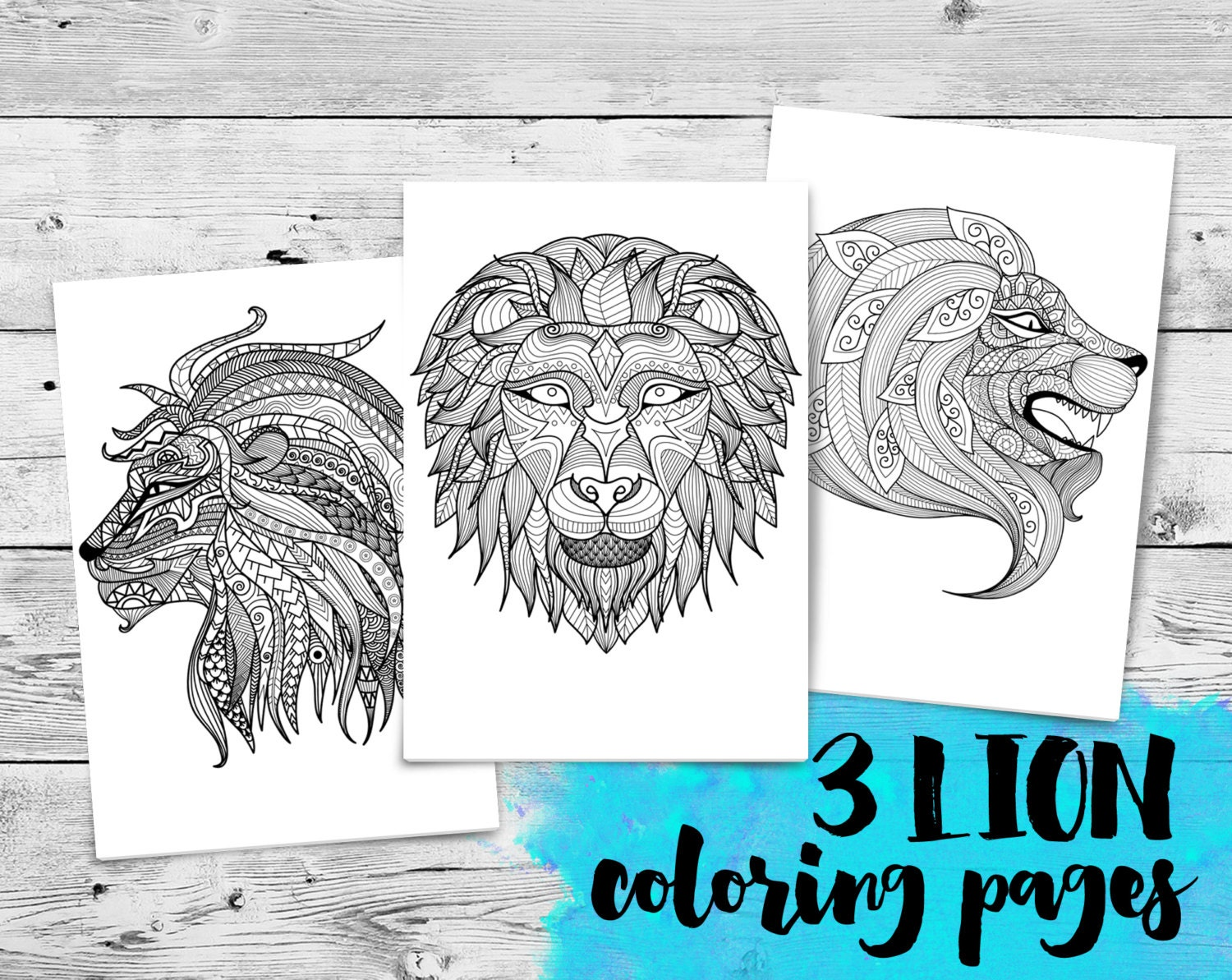 Coloring book for adults lion - Lions Mini Adult Coloring Book 3 Printable Coloring Pages Adult Colouring Zentangle Instant Download