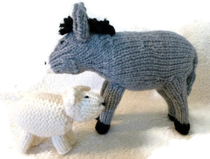 Free Dk Baby Knitting Patterns : Hand knitted donkey & sheep for your Christmas nativity scene