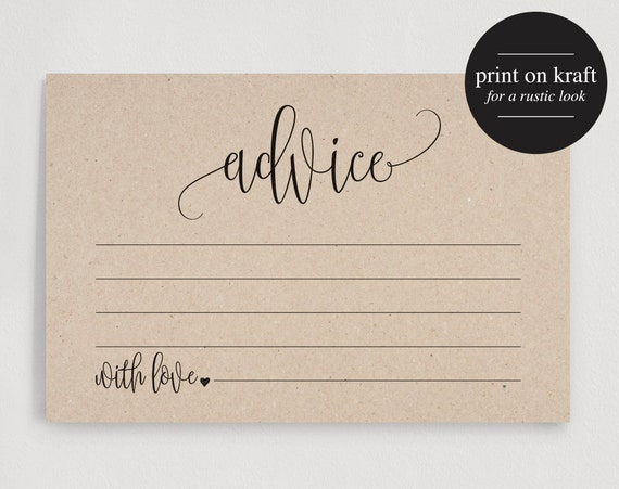 Advice cards wedding advice cards marriage by for Bridal shower advice cards template