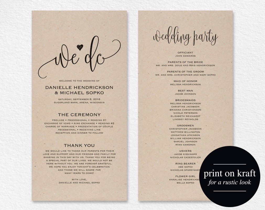 Wedding program template wedding program printable we do for Free wedding program templates word