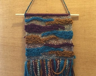 Jewel-toned Handwoven Funky Tapestry - Wall Hanging