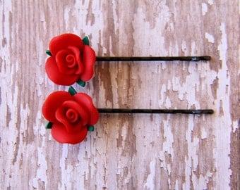 Red Rose Hair Pins, Rose Bobby Pins, Rose Hair Barrettes, Flower Hair Pins, Flower Pin, Hair Accessories, Bridal Hair Accessories, Hair Pins