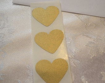 Heart Seals - Large Shimmer Gold Leaf Heart Envelope Seals For Wedding And Events - Sweet Love stickers x 25