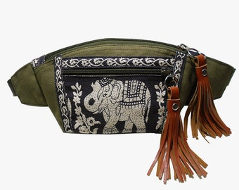 Fanny pack/Dark Olive Green Black Elephant/Boho fanny pack/Hip Bag/crossbody bag/Bum bag/Elephant bag/Festival Fanny Pack/BUY3GET1FREE