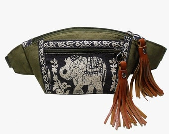 Dark Olive Green Black Elephant/Fanny packs/Boho bag/Thai Bag/Hip Bag/crossbody bag/Bum bag/Elephant bag/Festival Fanny Pack/BUY3GET1FREE