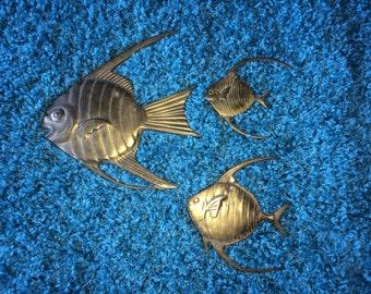 Set of 3 Vintage Brass Angelfish Angel Fish made in Korea