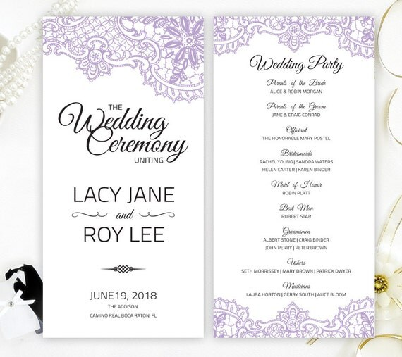Cheap Wedding Programs: Purple Wedding Programs Printed On Shimmer Paper By