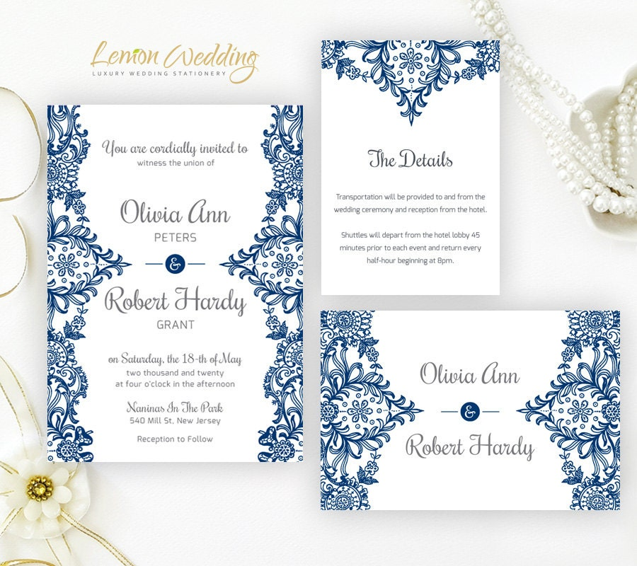 Wedding Invitation Postcard: Royal Blue Wedding Invitation RSVP Postcard Inclosure Card