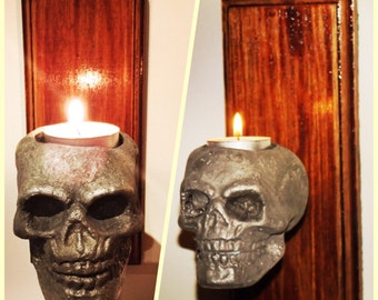 2 x Cast Aluminium Skull Sconces/Candle Holders - free postage in AU