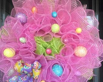 Easter Egg Mesh Wreath