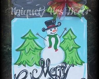 Snowman Door Hanger, Door Hanger, Christmas Door Hanger, Mason Jar Door Hanger