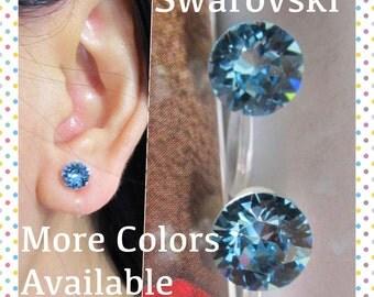 Swarovski Crystal Clip On Earrings |C15s| March Birthstone Aquamarine Blue Rhinestone clip Earrings Stud Bridal Clip-ons Wedding Clip on