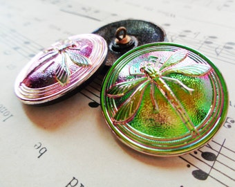 3 Modern Czech art glass buttons, 31mm pink, green luster on black glass dragonfly FREE SHIPPING