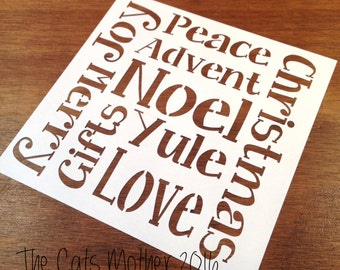 Wordy Christmas Themed Paper Cutting Template - Commercial Use