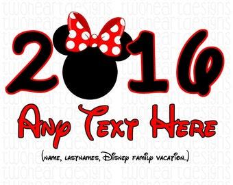 Disney Vacation 2016 Minnie WDW Disneyland Iron On - Digital - You Print