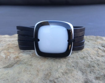 Black leather bracelet and fused glass , women jewelry , leather  cuff bracelet , white and black fused glass bracelet , handmade ,women