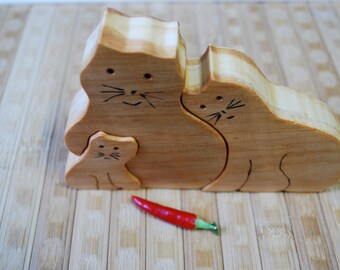 Wood puzzle, wooden puzzle, wooden cat puzzle, cats family, animal puzzle, handmade puzzle, wooden toy, waldorf toy, education children