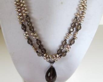 Pearl and Smoky Quartz Necklace