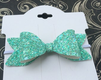 Glitter Bow Headband. Aqua Headband