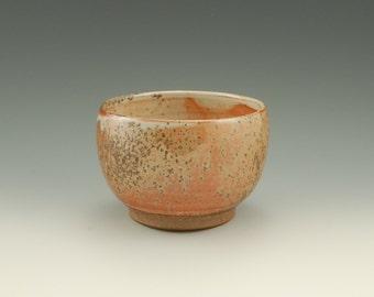 Stoneware  Bowl, Tea Bowl, Shino Glaze with Wood Ash, Reduction Gas Fired, Wheel Thrown, #223 ,15oz