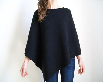 100% MERINO WOOL PONCHO/ Womens Cape/ Black Poncho/ Wool Sweater/ Women Poncho/ Round Neckline Shrug/ Black Wool Cape/ Poncho/ Shawl Wrap