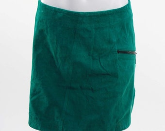 90s green zipper velvet skirt