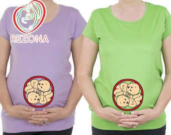 Baby twins inside Belly, Funny Maternity tshirt, top, tunic for trendy Mommy,unique maternity clothes, Pregnancy, Maternity Women's Clothing