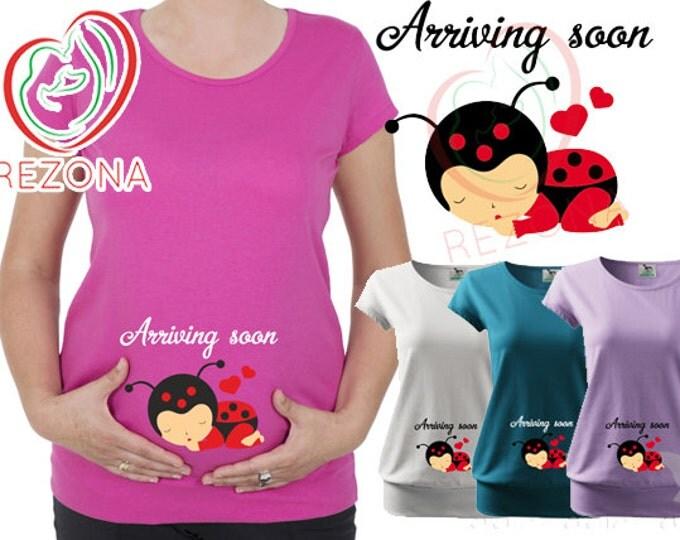 Arriving Soon - Sleeping Ladybug, Maternity, Pregnacy Wear- Baby Shower Gift, tshirt t shirt tunic top Pregnant