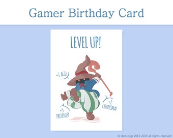 Level Up Birthday Card, Gamer Birthday Card, Greeting Cards, Final Fantasy, Vivi, Printable Paper - INSTANT DOWNLOAD