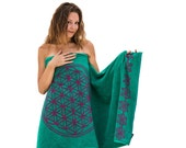 Flower of Life Towels Set in Turquoise Bath Towel and Hand Towel Turquoise Bathroom Luxury Towels