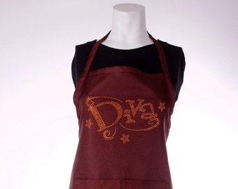 Brown  Apron, Diva Apron, Apron with Pockets,Woman Apron, Rhinestones Apron,Handmade Apron,