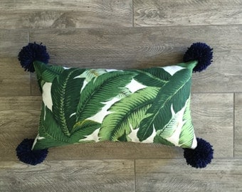 Outdoor Palm Lumbar Pillow Cover with Pom Poms