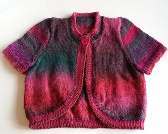 Girls Knitted Short Sleeve Jacket, red pink purple