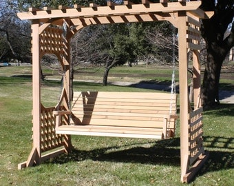 Brand New Colonial Cedar Garden Arbor & 4 Foot Porch Swing with Hanging Chain - Free Shipping