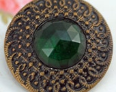 VERY ANTIQUE Button, Collectible Button or Use For a Special Project, Metal With Glass Center  #122