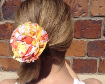 Rag Rose Fabric Rosette Hair Elastic