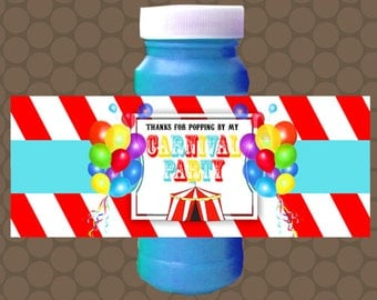 Carnival Party Birthday Bubble Labels Wrappers Stickers Printable Uprint Digital DIY Instant Download