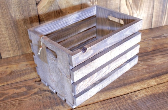 White Washed Handmade Classic Wood Crate with Handles --- Flintface Woodshop