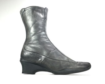 Size 9 - Prada Wedges Black Leather Boots EU 39.5