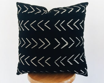 Authentic African Black and White Mudcloth Chevron Decorative  Pillow-FILLED