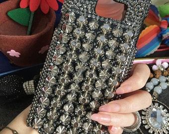 Bling Punk Rivets Spikes Studded Gun Black Fashion Sparkles Unique Personalized Crystals Rhinestones Diamonds Gem Hard Case for Mobile Phone