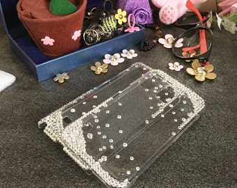 New Bling Lovely Fashion Sparkles Charms Glossy Assorted Clear Jewelled Crystals Rhinestones Diamonds Gems Hard Cover Case for Mobile Phone