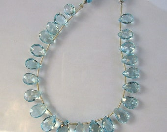 "Sky blue topaz faceted pear briolette bead AAA 10-14mm 8"" strand"